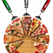 Pizza on the cutting board - Stock Photo