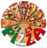 Pizza itálie na omítané prkno — Stock fotografie