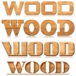 "Four words ""wood"" in wood carving — Stockfoto #7570549"