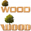 "Two words ""wood"" in wood carving with tree — Foto Stock"