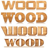"Four words ""wood"" in wood carving — Zdjęcie stockowe"