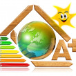 Energy saving - wood and earth - Stock Photo