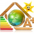 Stockfoto: Energy saving - wood and earth