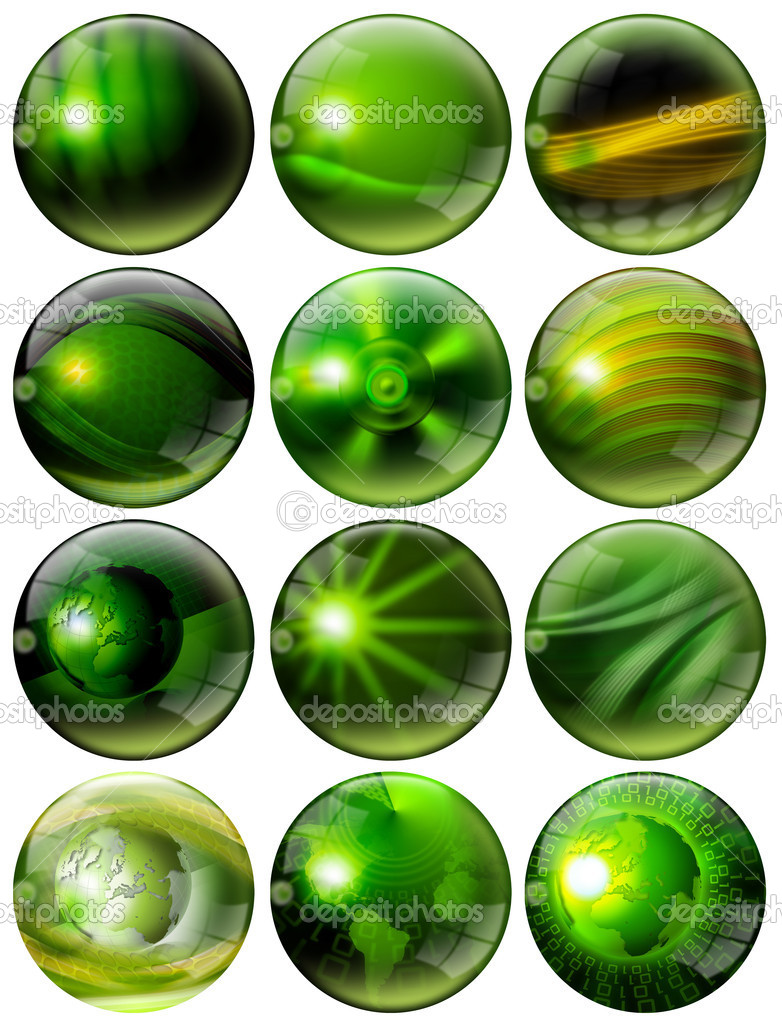 12 green spheres with of fantasy with reflections and terrestrial globes  Stock Photo #7672206