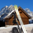 Nordic Skiing - Mountain chalet in winter - Italy Alps - Stock Photo