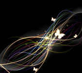 Abstract dark background with streams of light and butterfly — Stock Photo