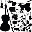 Stock Photo: Music instrument vector silhouettes