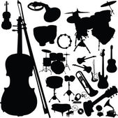 Music instrument vector silhouettes — Stock Photo