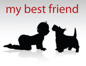 My best friend vector silhouettes — Stock Photo