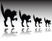 Nervous cat vector silhouettes — Stock Photo