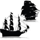 Old boat vector silhouettes — Stock Photo