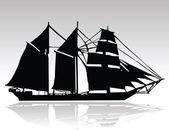 Old ship black silhouettes — Stock Photo