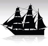 Old ship sailing vector silhouettes — Stock Photo
