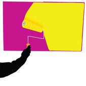 Målning i gula vektor illustration — Stockfoto
