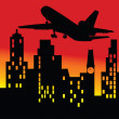 Plane above the building vector illustration — Stock Photo