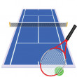 Play tennis on blue court — Stock Photo #7103426