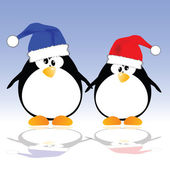 Penguins holding hands vector illustration — Stock Photo