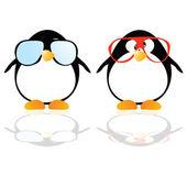 Pinguini con occhiali illustrazione vettoriale — Foto Stock