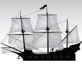 Pirate on his boat illustration — Stock Photo