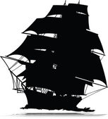 Pirates ship one vector silhouettes — Stock Photo