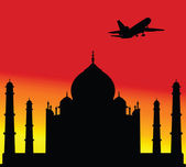 Plane above the Taj Mahal one vector illustration — Stock Photo