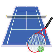 Play tennis on blue court — Stock Photo