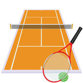 Play tennis on orange court — Stock Photo