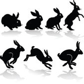 Rabbit job silhouettes — Stock Photo