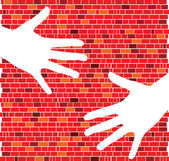 Red brick wall with white hand illustration — Stock Photo