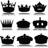 Royal crowns vector silhouettes — Stock Photo