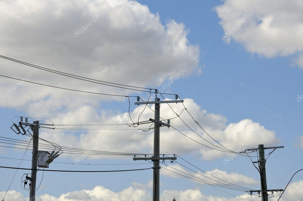 Highly charged electrical power lines with sky background. — Stock Photo #6839298