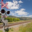 Railway signal control along track — Stock Photo