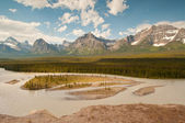 Panorama of majestic snowy mountains — Stock Photo
