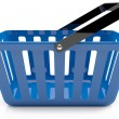 Plastic blue shopping basket — Stock Photo