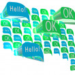 Big green and blue speech bubble made from small bubbles — Stock Photo