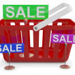 Royalty-Free Stock Photo: Shopping basket with sign sale