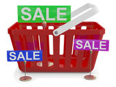 Shopping basket with sign sale — Stock Photo