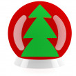 Christmas tree. Decorated red christmas bauble. 3D model — Foto de Stock
