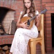 Girl playing on Mandolin — Lizenzfreies Foto