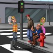 Crossing the street — Stockfoto