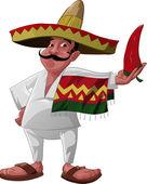 El mexicano y el chile jalapeño — Vector de stock