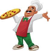 Pizzaiolo feliz — Vector de stock