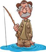 Viejo pescador — Vector de stock