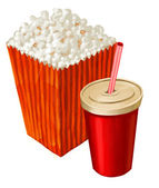 Popcorn and cola — Stock Photo