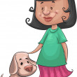 Girl and dog — Stock Vector #7606283