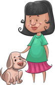 Girl and the dog — Stock Vector