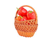 Red pepper in a wattled basket — Stock Photo