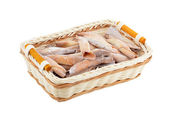 Homemade cookie roll in a wattled basket — Stock Photo