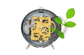 Green technology. Inside the clockworks and plant — Stock Photo