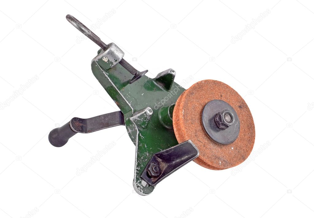 Mechanical grindstone with vice, isolated on white background — Stock Photo #7955876
